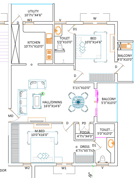 2 BHK Apartment 1287 Sq.ft West Facing House